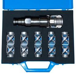 "Mallette surmixer hélicoïdal inox 1""1/4 acier et filtres 0,5-1-1,5-2 & 3"""